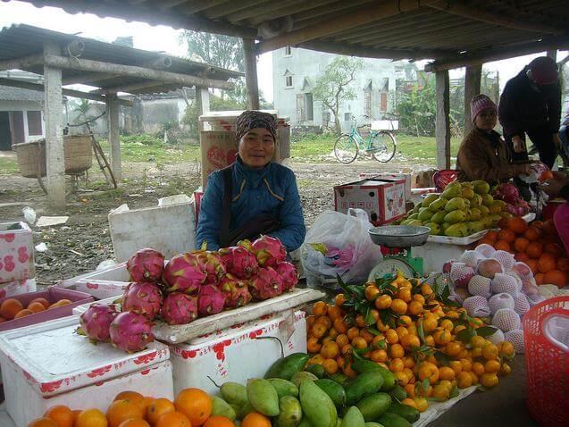 Une villageoise avec son stand des fruits